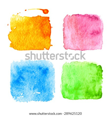 stock-vector-set-of-color-watercolor-splatters-square-shape-green-blue-pink-and-orange-vector-illustration
