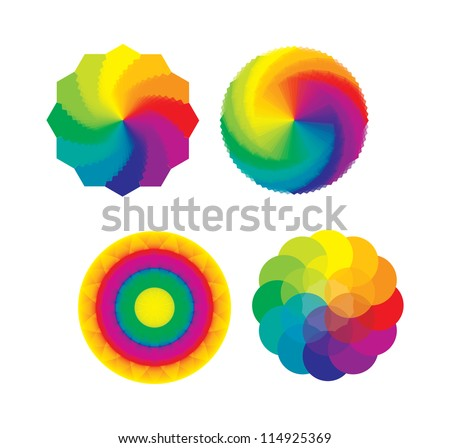 Set of Color Wheels - Circles / Flower of Life in Rainbow Colors