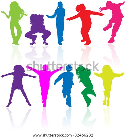 Set of colored active children vector silhouettes with reflection.