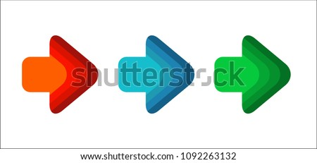 Set of colored arrows pointing right. New bright striped arrows for your projects. Dinamic isolated on white background.
