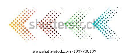 Set of colored arrows with halftone effect. Vector illustration. Arrows collection isolated