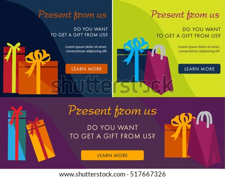 Set of colored banners. Gifts. Presents. can be used as a banner, card or gift certificate. Flat  banners