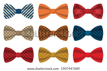 Set of colored bow ties vector illustration Stock fotó ©