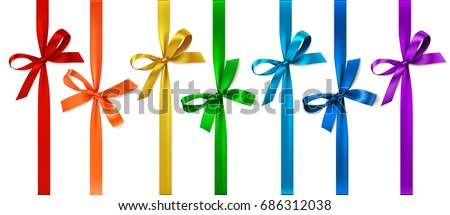 Set of colored bow with vertical ribbon. Vector bow isolated on white