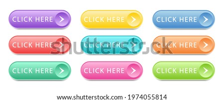 Set of colored buttons Click Here isolated on white background. Click here vector web button. UI button concept. Call to Action Button. Vector illustration
