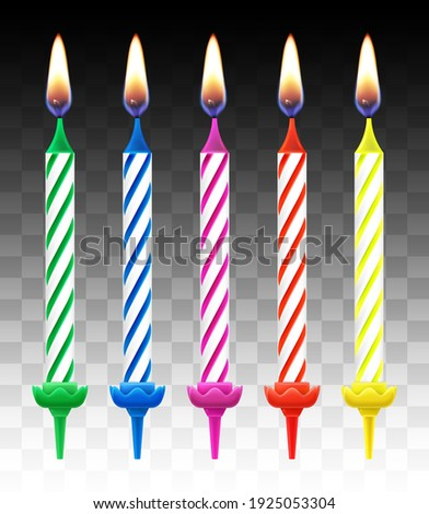 Set of colored candles for cake, holiday decoration. Happy Birthday. 3d realistic vector illustration. Foto stock ©