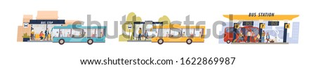 Set of colored cartoon bus station isolated on white background. Passenger at stop with different transfer vector flat illustration. Collection of suburban, city and international travel transport ストックフォト ©