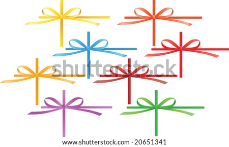 Set of colored celebration bows