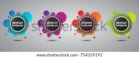 Stock Photo Set of colored circular banners with neon glow and round bubbles vector illustration