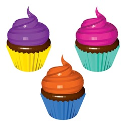 Set of Colored Cupcakes Isolated on White. Low Poly Realistic Vector Illustration.