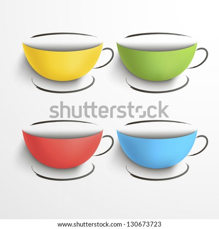 Set of colored cups with a saucers.Sketch