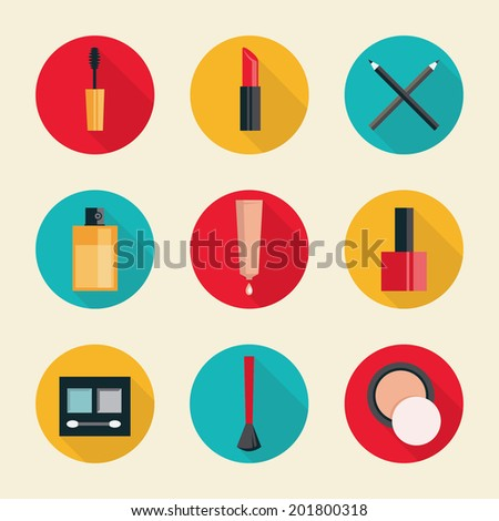 Set of colored flat design round vector icons for cosmetics makeup instruments Isolated on stylish background