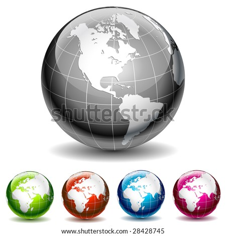 Set of colored globe icons. Vector Illustration - stock vector