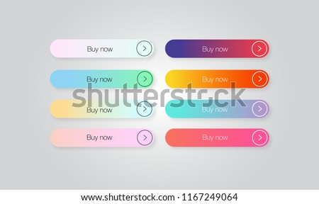 Set of colored gradient web Buttons