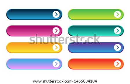 Set of colored gradient web buttons on white background. Web elements.