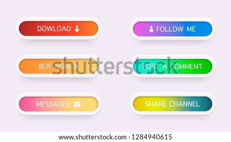 Set of colored gradient web buttons  on white background. Web elements. Vector Buttons. #1284940615