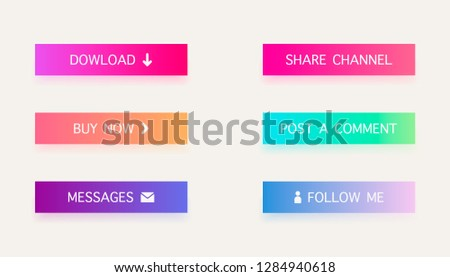 Set of colored gradient web buttons  on white background. Web elements. Vector Buttons. #1284940618