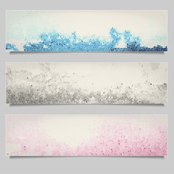 Set of colored grunge horizontal banners. Decorative banners with mosaic effect.