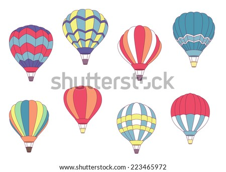 Air balloon in the sky vector download free vector art stock set of colored hot air balloons with different patterns on the envelope vector illustration on malvernweather Gallery