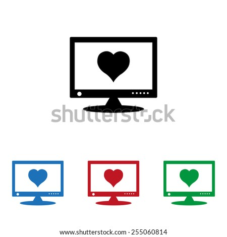 Set of colored icons. Black, blue, red, green.  computer and heart, cyber-love symbol, icon, vector illustration. Flat design style