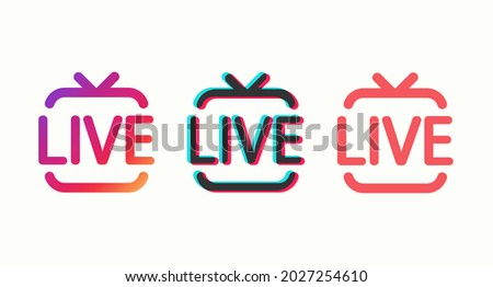 Set of colored icons Live isolated on a light background. Design of a video channel, blog, stream. Vector illustration  Stock fotó ©