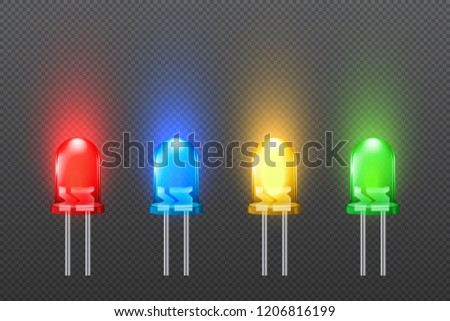 Set of colored light emitting diodes with glowing effect, LED collection, isolated on simple background