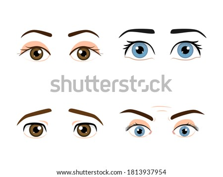set of colored male eyes and
