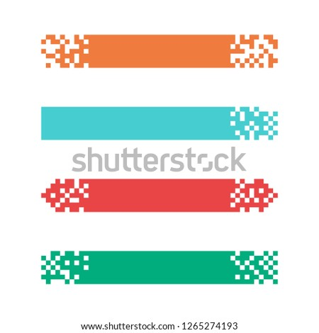 Set of colored modern pixel banners for headers. Banners ready for your text or design. Vector illustration.