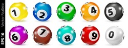 Set of colored numbered balls for bingo game. Lotto keno concept. Bingo balls with numbers. Vector illustration.