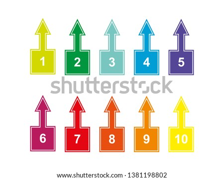 set of colored numbered squares with numbers from 1 to 10 with up arrows for design and decoration of projects, presentations, plans. Tab with numbering.
