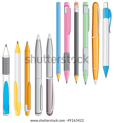 Set of colored pencils and pens-vector image without gradients easy editable colors