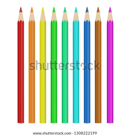 set of colored pencils, colored pencils, red, orange, yellow , green, light green, blue , brown, purple, pencil