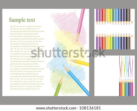 set of colored pencils on a white background - stock vector