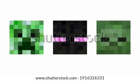 set of colored pixel square