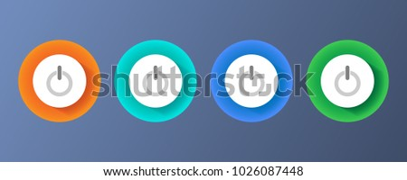 Set of colored power buttons. Round push buttons. Design elements for the interface.
