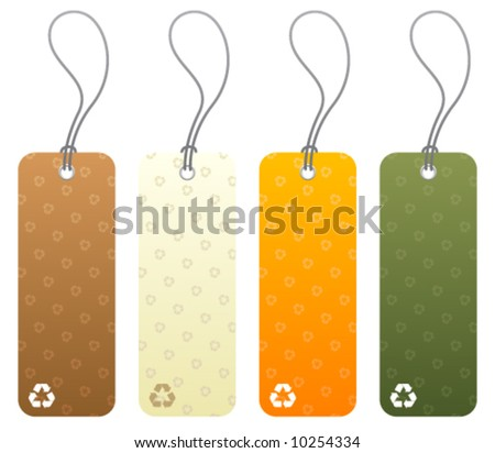 Set of 4 colored product tags with recycling icon symbols