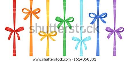 set of colored rainbow silk