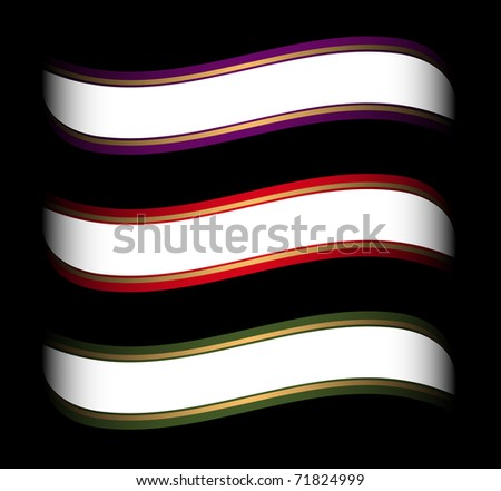 set of colored ribbon template for white space on it