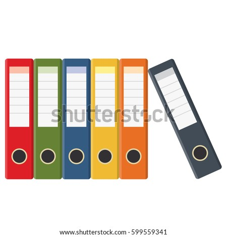 Set of colored ring binders isolated on white. Vector illustration in flat style
