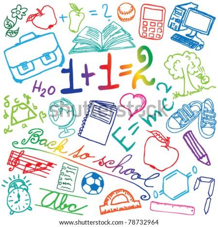 Set of colored school symbols