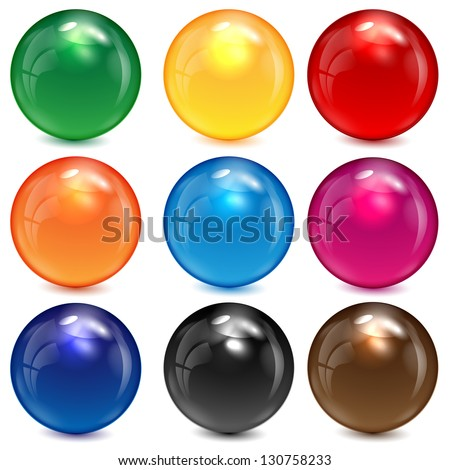set of colored spheres on a