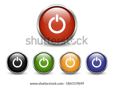 Set of colored 'Start' buttons with metal frame and shadow
