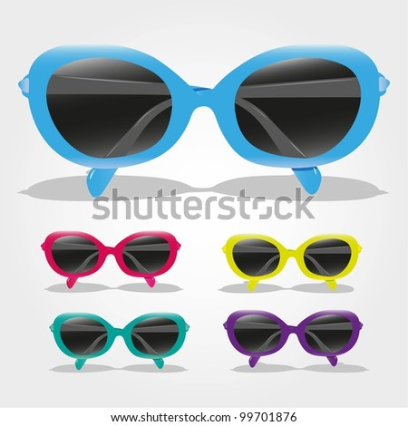 set of colored sunglasses, isolated on gray background, vector illustration