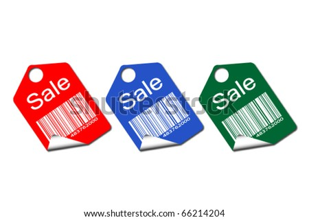 Set of colored tags for sale
