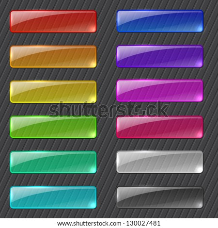 Set of colored transparent rectangle web buttons on dark background