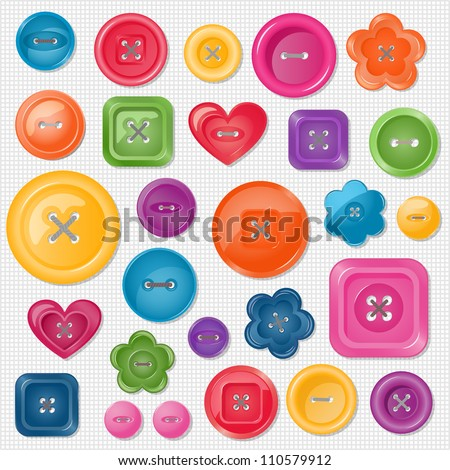 Set of colored vector buttons for your design. EPS 10 vector illustration.  Each element is isolated on a separate layer.