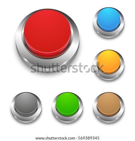 Set of colored vector 3d round web buttons with metal frame, isolated on white