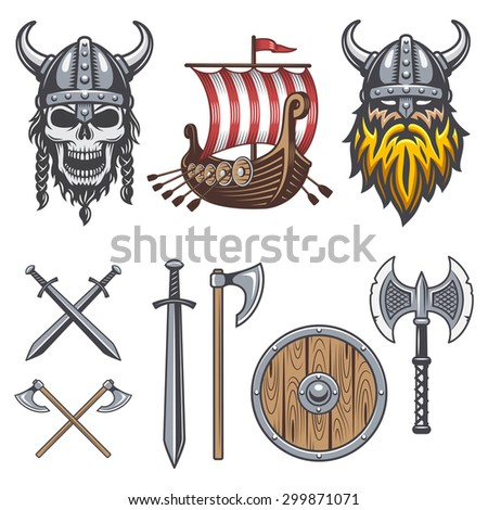 set of colored viking elements