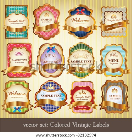 Set of colored vintage labels