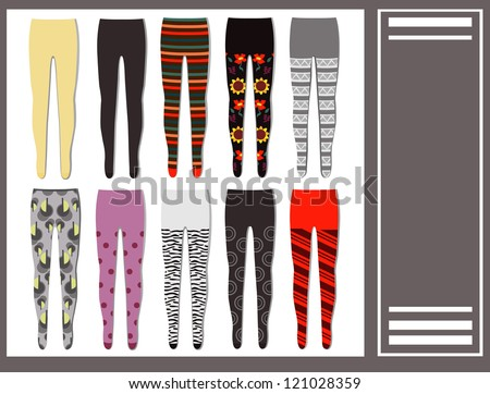 set of colored warm tights